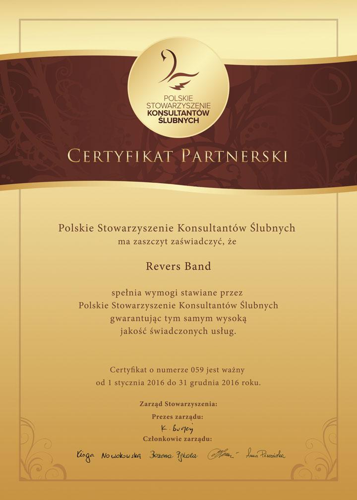 Polskie Stowarzyszenie Konsultantów Ślubnych Certyfikat Partnerski Revers Band